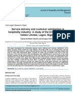 Service Delivery and Customer Satisfaction in Hospitality Industry