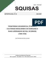 Fronteiras Geograficas, Etnicas - Kaingangs e Suas Lideranças No Sul Do BR