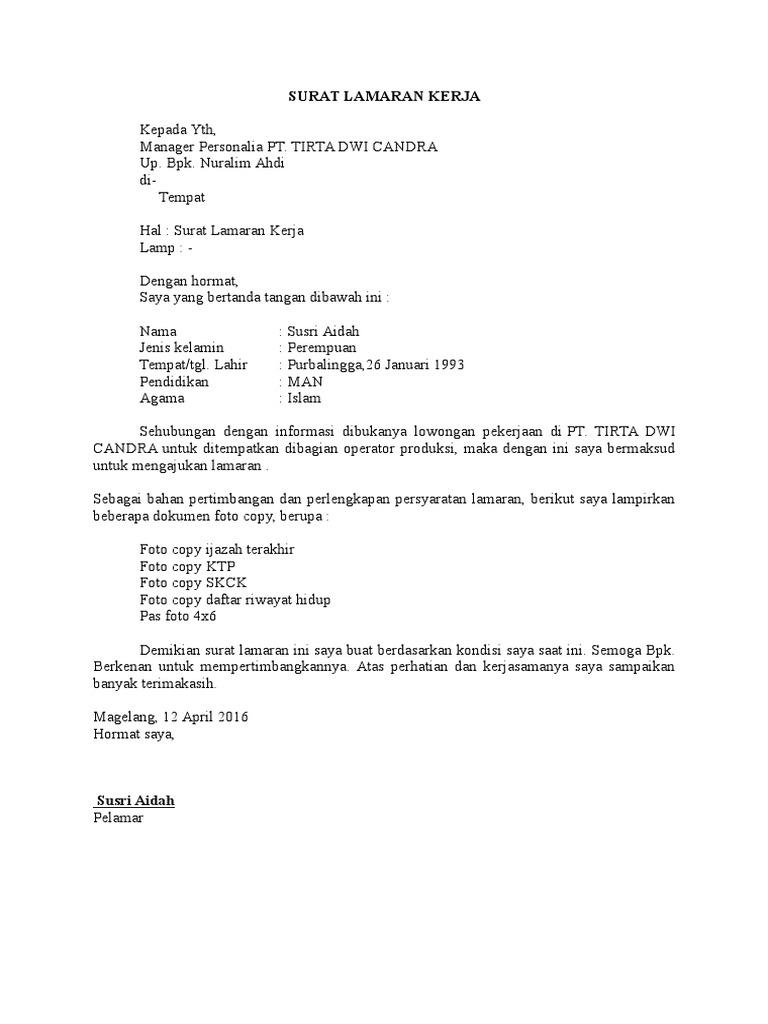 Contoh Format Surat Lamaran Kerja Untuk Lulusan Sma