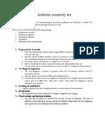 Antibiotic Sensitivity Test and Drug