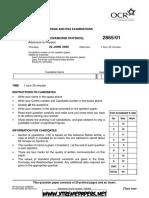 A GCE Physics B 2865 01 June 2006 Question Paper