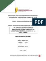 MEJORA DE LOS PROCESOS DE ASESORÍA PERSONALIZADA EN LOS ACOMPAÑANTES PEDAGÓGICOS DE LA UGEL SANDIA.
