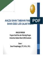Materi Kuliah S1 Analisa Pangan - Bahan Tambahan Pangan 2014