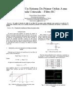 Reporte 1 Funcion de Transferencia Sistema de Primer Orden