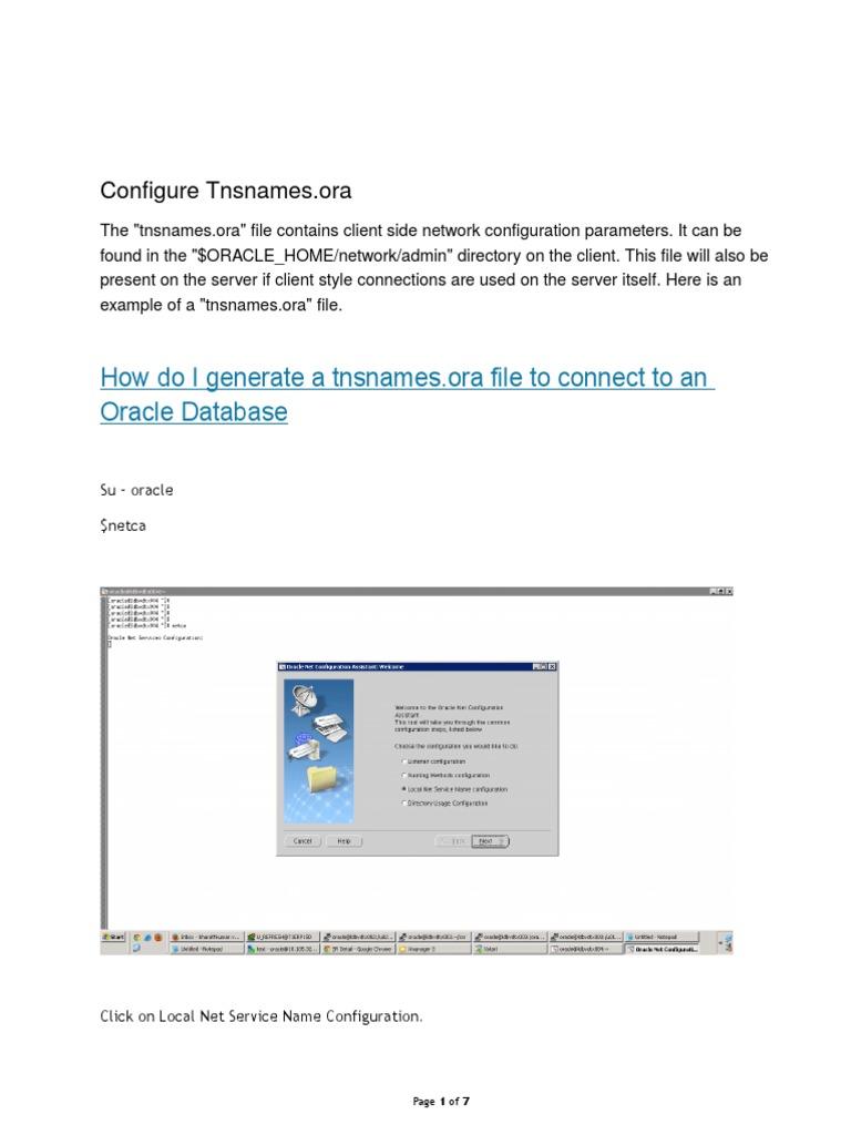 TNSNames ora Configuration   Operating System   Oracle Database