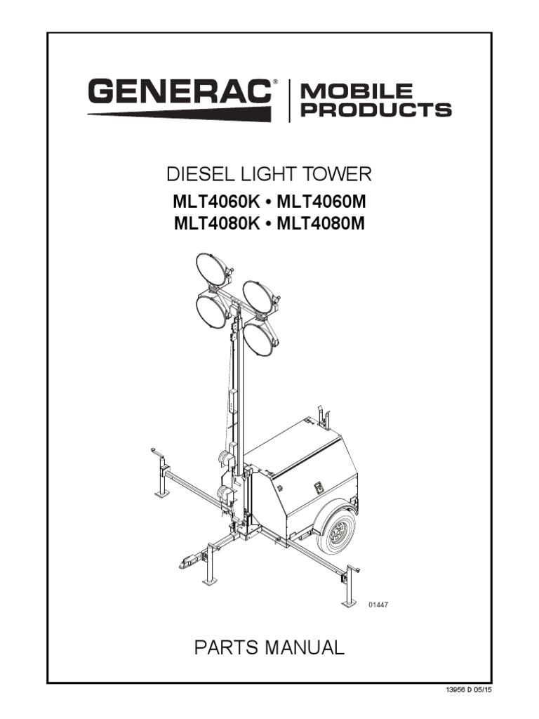 Generac Mobile Products Manual Parts Light Towers MLT4060 80 ... on generac generator parts, generac engine parts diagram, generac 7000exl engine parts, generac 7550 ex-l parts manual,