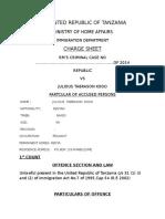 Charge Sheet to Mr Julious Tabrason Kogo
