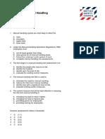 Level 2 Award in Principles of Manual Handling - Sample Questions