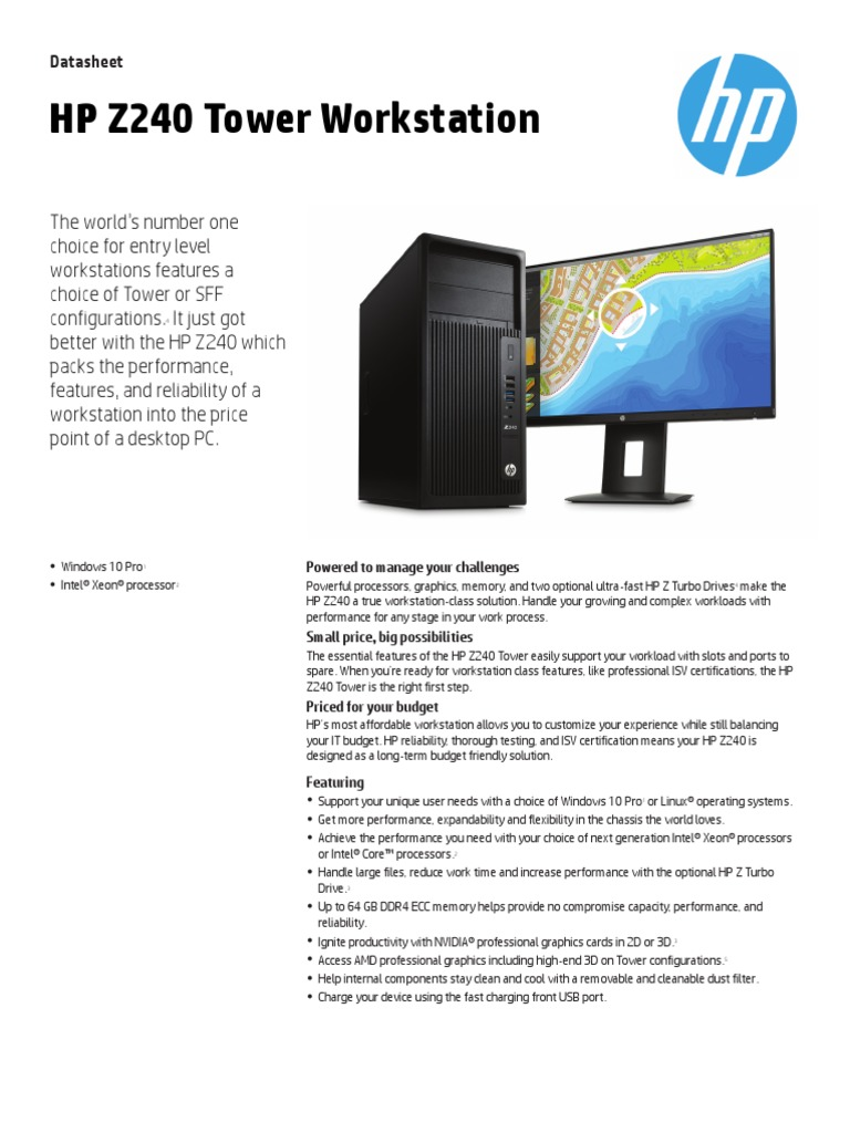 HP Z240 Tower Workstation | Solid State Drive | Usb