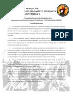 RESOLUCIÓN SOBRE LA UNIDAD DEL MOVIMIENTO ESTUDIANTIL UNIVERSITARIO COLOMBIANO
