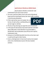 purpose of liquid calcium chloride on srsha roads