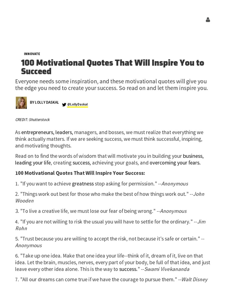 100 Motivational Quotes That Will Inspire You To Succeed Inccom