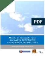 Modelo de Desarrollo Vasco. SALARIOS, BENEFICIOS E INVERSIÓN PRODUCTIVA