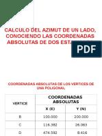 Calculo Azimut Conociendo Coord de Dos Puntos