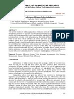 Economic efficiency of human values in Industries