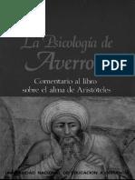 Averroes - La Psicologia de Averroes - Comentario Al Libro Sobre El Alma de Aristoteles