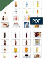 Vocabulario de bebidas y alimentos en imágenes y palabras
