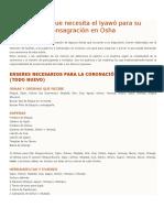 Enseres Necesario Para Coronacion de Osha (Todos Los Orishas)