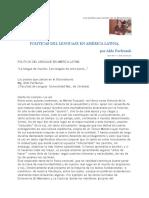 Aldo Parfeniuk, Políticas Del Lenguaje en América Latina - Lengua de Unos Pocos