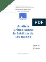 Análisis Crítico sebre la Estática de fluidos