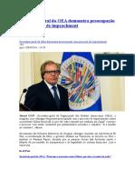Secretário-geral Da OEA Demonstra Preocupação Com Processo de Impeachment