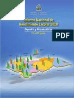 Informe Nacional Rendimiento Escolar 2010 Honduras