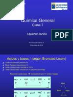 QUIMICA GENERAL Clase 7 Equilibrio Ionico Acido Base