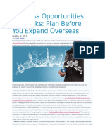 Plan Before You Expand Overseas