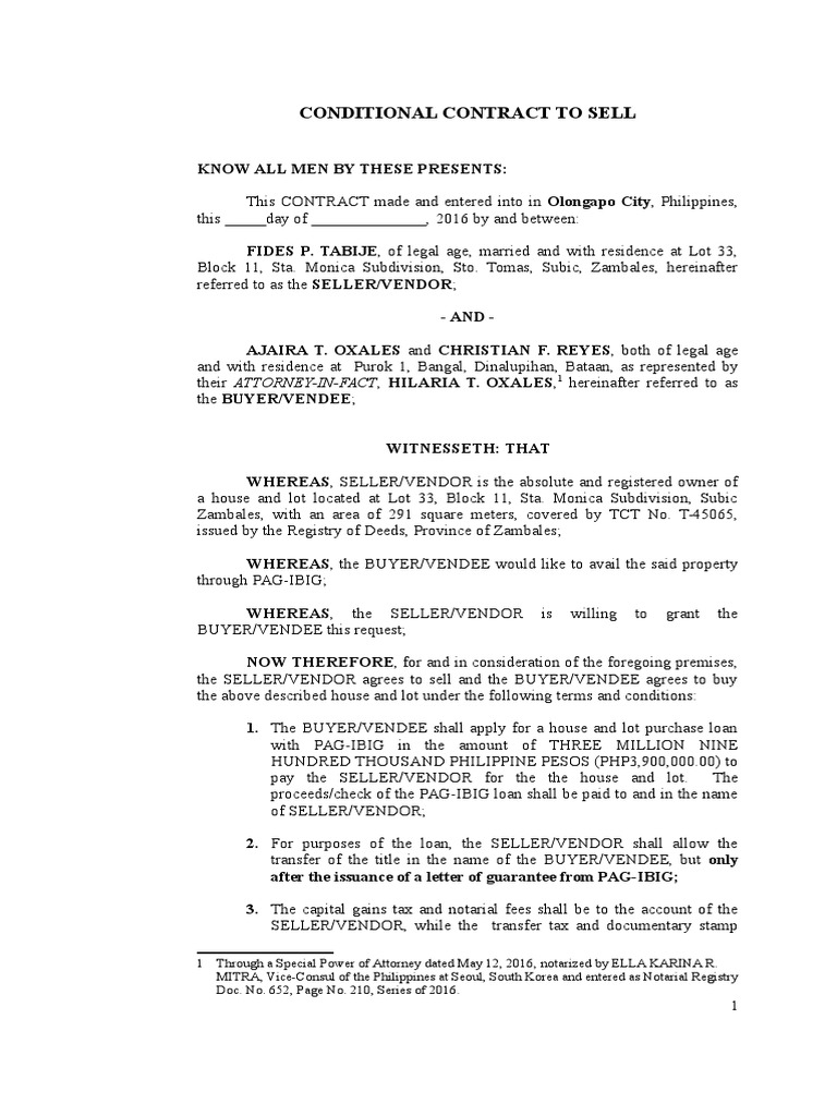 Sample Agreement To Sell Property