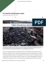 No Coal for Needy Power Units