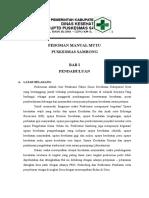 Pedoman Manual Mutu Puskesmas Sambong2016