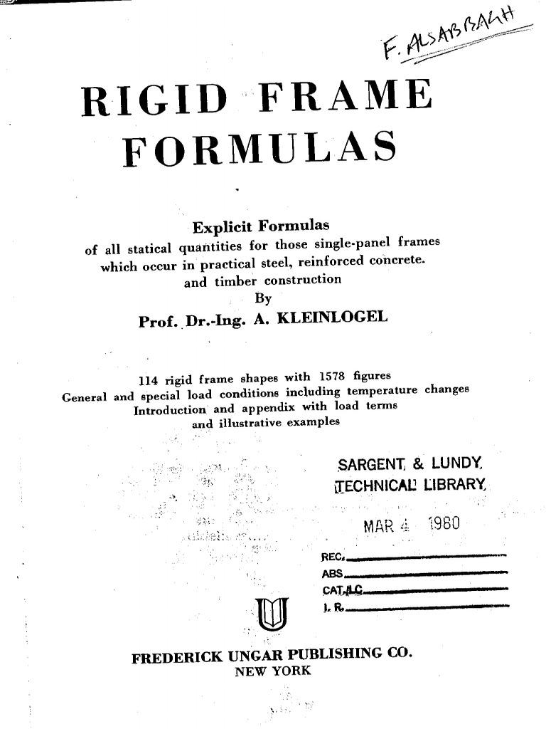Kleinlogel Rigid Frame Formulas | Structural Analysis | Stress ...