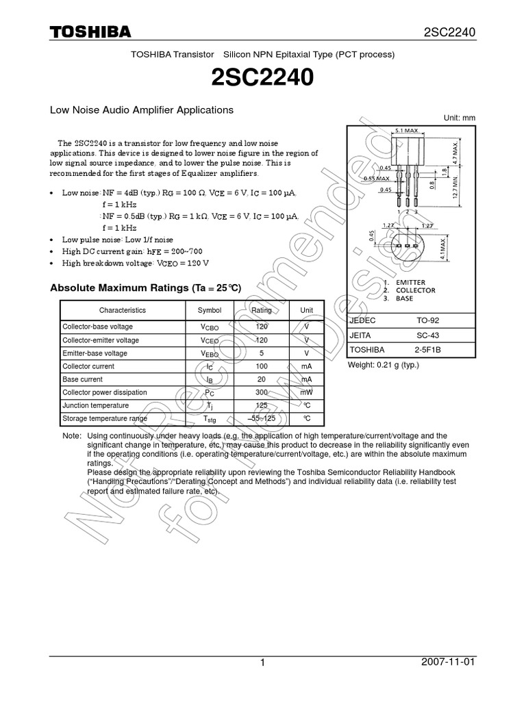 2sc2240 Datasheet En 20071101 Amplifier Transistor Low Noise Equalizer Circuit