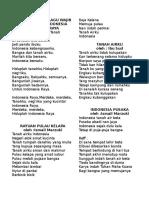 Kumpulan Lirik Lagu Wajib Kebangsaan Indonesia