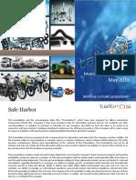 Investor Presentation May 2016 [Company Update]