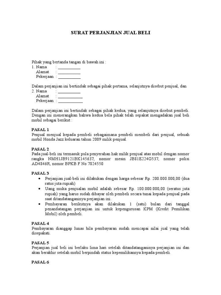 18 Contoh Surat Perjanjian Jual Beli Mobil Yang Baik Dan Benar