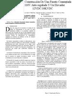 Diseño y Construcción de Una Fuente Conmutada de 110V Auto Regulada Y Un Elevador DC