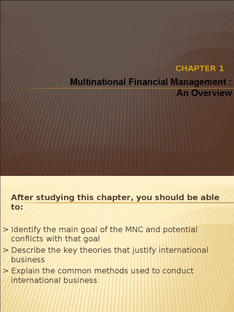 international finance ch 1 Chapter 31 - international corporate finance table of contents part i - overview chapter 1 - introduction to corporate finance chapter 2 - financial statements and cash flow chapter 3 - financial statements analysis and financial models part ii - valuation and capital budgeting.