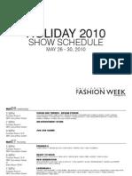 Schedule - Philippine Fashion Week Holiday 2010