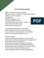 Model Building Checklist