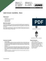 Transmisor de presión modelo MIDAS C08 marca JUMO (Alemania)