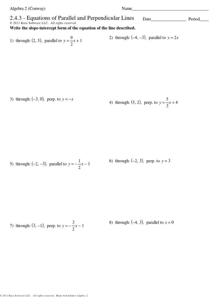 2.4.3 - Equations of Parallel and Perpendicular Lines: y x y x