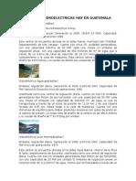 Cuantas Hidroelectricas Hay en Guatemala