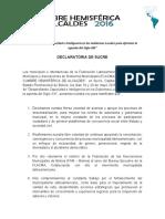 """Declaratoria de Sucre - X Cumbre Hemisférica de Alcaldes """"ExperienciAmérica"""""""