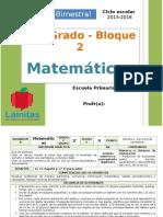 Plan 2do Grado - Bloque 2 Matemáticas