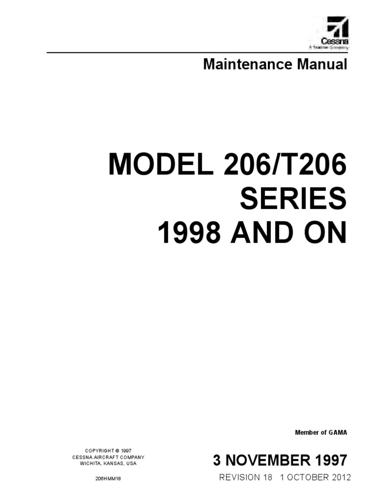 maintenance manual cessna 206 airplane cessna rh scribd com Cessna 172 Performance Charts Fuel Cessna 172 Skyhawk