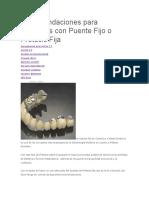Recomendaciones Para Pacientes Con Puente Fijo o Prótesis Fija
