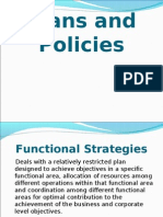 Functional level strategies-Plan and Policies