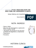 Notas Medicas de Hospitalizacion