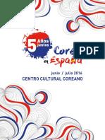 """Programa Eventos 5ºAniversario """"Corea en España"""""""